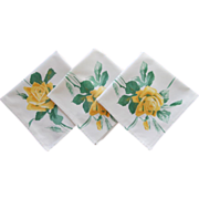 Wilendur Napkins 3 Yellow Roses Print Vintage Printed Unused