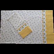 Pillowcases Unused Vintage Border Print Cotton Yellow White Roses