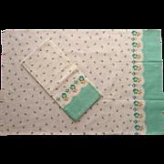 Pillowcases Vintage Border Print Cotton Unused Green Roses