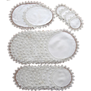 SOLD 1910s Tatted Lace Trim Antique Luncheon Doily Set TLC