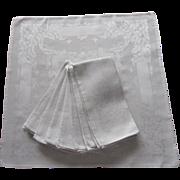 Silver Gray Damask Luncheon Napkins Vintage Set 8
