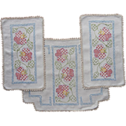 SOLD Chair Doily Antimacassar Set Vintage Embroidered Linen Vanity Doilies