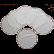 Tea Plate Doilies Antique 1910s Unused Set 6 Lace Trim Luncheon