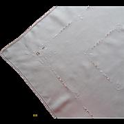 SOLD Italian Work Tea Tablecloth Vintage Linen Handsome Simple