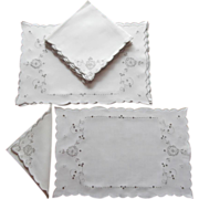 Set Placemats Napkins Vintage Linen Ecru Embroidery Cutwork