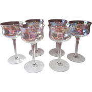 Iridescent Cocktail Stemware Optic Rib Vintage Glasses Dessert Wine