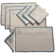 ca 1920 Placemats Napkins Set Vintage Blue White Embroidery Lace