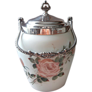 Victorian Glass Silver Roses Biscuit JarVan Bergh Antique Hand Painted