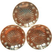 Antique Starburst Cut Glass 3 Shallow Finger Bowls