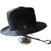 Navy Blue Gaucho Hat Vintage Original Tag Cello Straw