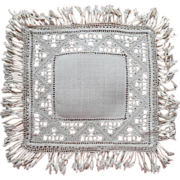 SOLD Italian Work Linen Lamp Mat Doily Vintage Hand Embroidery Fringed