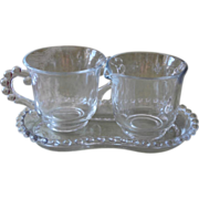 Candlewick Imperial Glass Creamer Sugar Tray Set Vintage