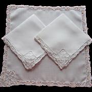 Needle Lace Napkins Linen Vintage 3 Lots Of Lace
