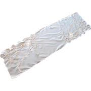Art Deco Runner Vintage Hand Embroidery Peach White