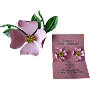 Enamel Dogwood Pink Flower Pin Earrings Set Vintage