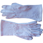 Embroidered Gloves Vintage 2 Pair All White Size 7.5