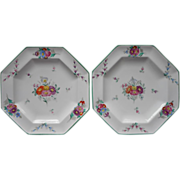 Wedgwood Hand Painted Plates Octagon China Antique Green Rims