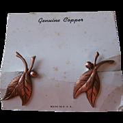 Copper Earrings Vintage Leaves On Original Card