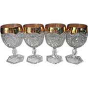 EAPG Goblets Antique Pressed Glass Gold Flash Rims Set 4