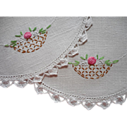 SOLD 1920s Vanity Lamp Doilies Hand Embroidery Baskets Flowers