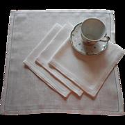 Damask Luncheon Napkins Set 4 Vintage Linen