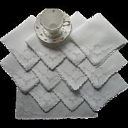 SOLD Tea Napkins Vintage 1920s Set 12 Linen Cutwork Hand Embroidery