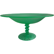 1920s Satin Glass Compote Tiffin Twist Vintage Art Deco Green Large