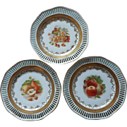 3 Plates Reticulated China Fruit Gold White Winterling Vintage Pierced