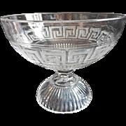 EAPG Greek Key Compote Pedestal Bowl Antique Pressed Glass
