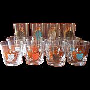 MCM Barware Glasses Set Crests Gold Color Highballs Old Fashioned