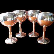 Silver Balloon Goblets 4 Vintage Wine Water Kirk Stieff Stemware