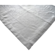 Damask Tablecloth Vintage Linen ca 1920 Classical Motifs Hemstitched
