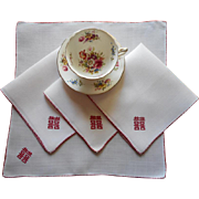 Rice Linen Napkins Vintage Red Hand Embroidery Chinese Characters