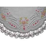 SOLD Arts And Crafts Hand Embroidery Antique Linen Lace Pink Green White Centerpiece