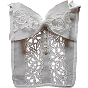 SOLD Dickie Collar Lace Organdy Mother Of Pearl Buttons Vintage 1920s