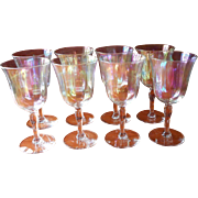 Luster Stemware Wine Glasses Vintage Set 8 Iridescent Optic Rib