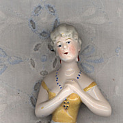 """2 3/4"""" Vintage China Pincushion Doll with Yellow Bodice"""