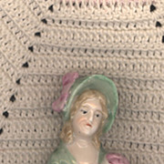 SALE Vintage Pincushion Doll with Green Bonnet