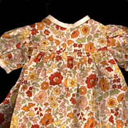Vintage Doll Cotton Print Doll Dress in Yellow and Orange