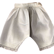 SOLD Antique White Cotton Doll Pantaloons with Lace Trim