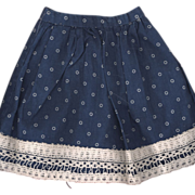 Antique Blue Cotton Print Doll Skirt
