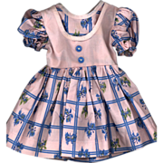 SOLD Vintage Pink and Blue Cotton Print Doll Dress