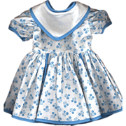 SOLD Vintage Blue and White Cotton Print Doll Dress