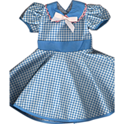 SOLD Vintage Blue and White Check Print Doll Dress