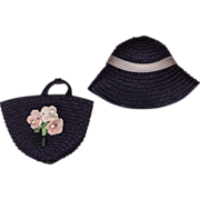 SOLD Vintage Navy Blue Straw Hat and Purse Set