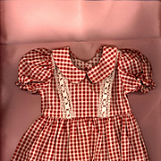 Vintage Red and White Check Cotton Doll Dress