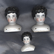 SALE Set of Three Antique China Heads