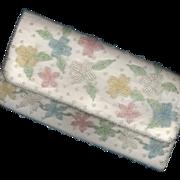 Vintage White Taffeta Beaded Purse