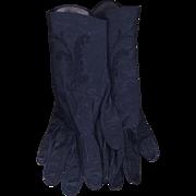 Vintage Navy Blue Kid Leather Gloves