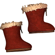 Vintage Red Suede Doll Boots  Made in England